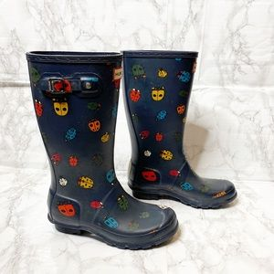Hunter Ladybug Printed Navy Tall Rain Boots 3B 4G